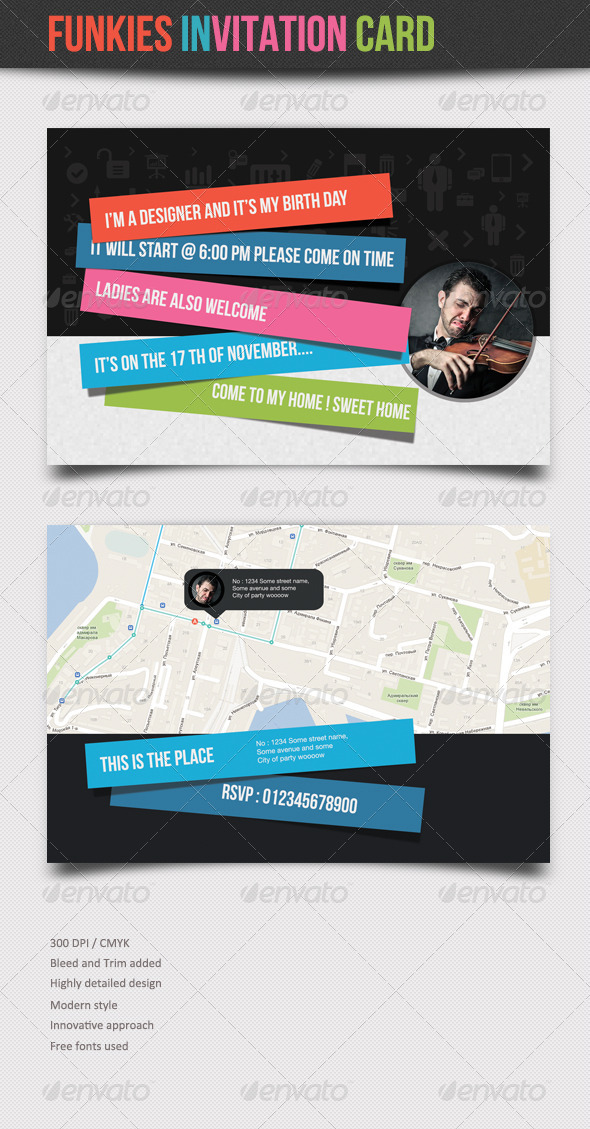 GraphicRiver Funkies Invitation Card 5869620