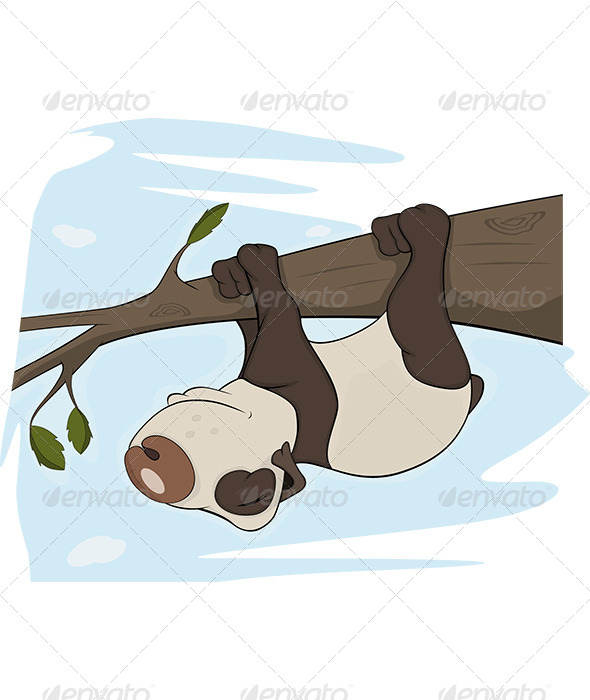 GraphicRiver Panda Bear Sleeps on a Tree Cartoon 5869882