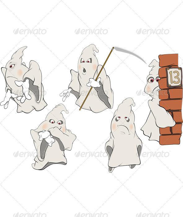 GraphicRiver Ghosts Clip Art Cartoon 5870028