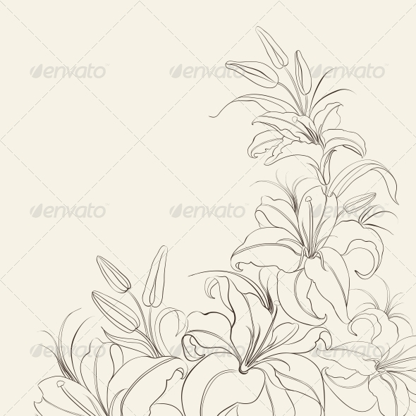 GraphicRiver Lily Frame Isolated Over Sepia 5870270
