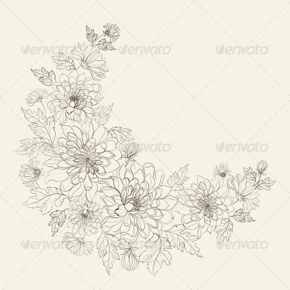 GraphicRiver Flower Wreath of Chrysanthemum 5870387