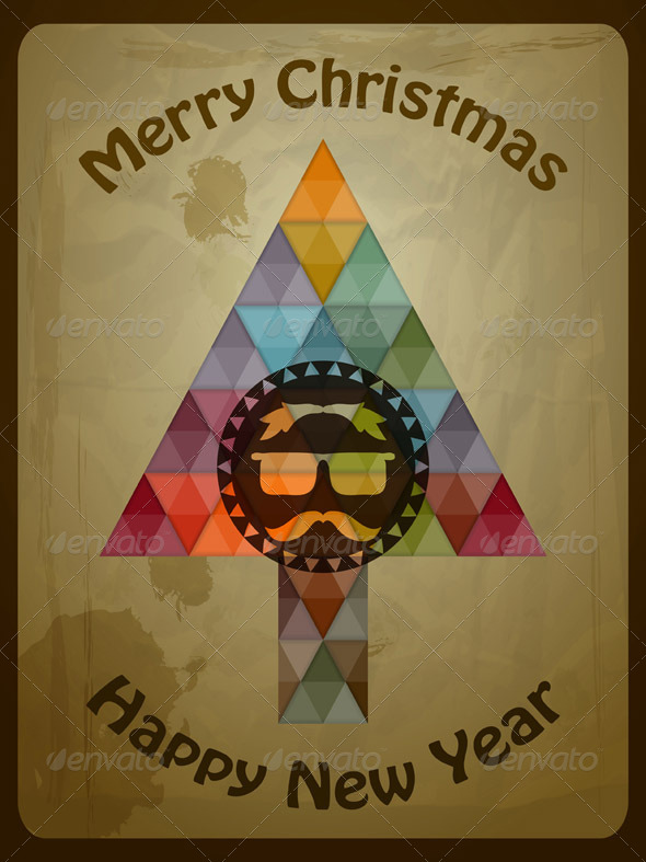 GraphicRiver Vector Hipster Christmas Greeting Card 5870628