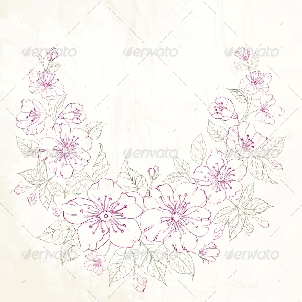 GraphicRiver Colored Sakura Flowers Isolated Over Sepia 5870636