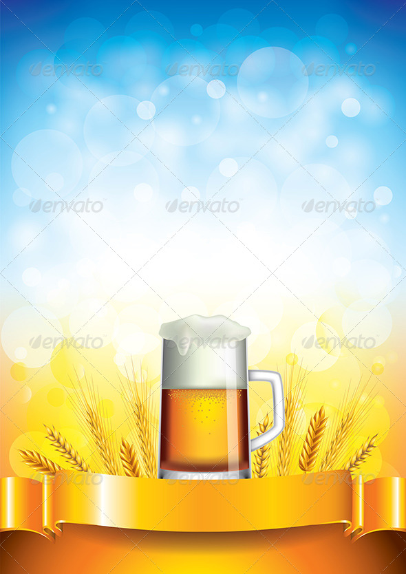 GraphicRiver Beer Mug on Wheat Field Vector Background 5870722