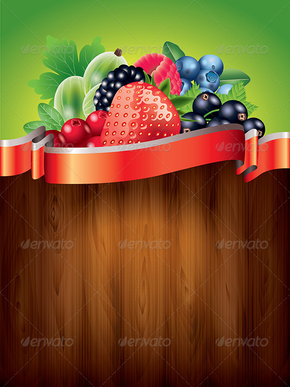 Berries on Wwooden Background Vector Illustration