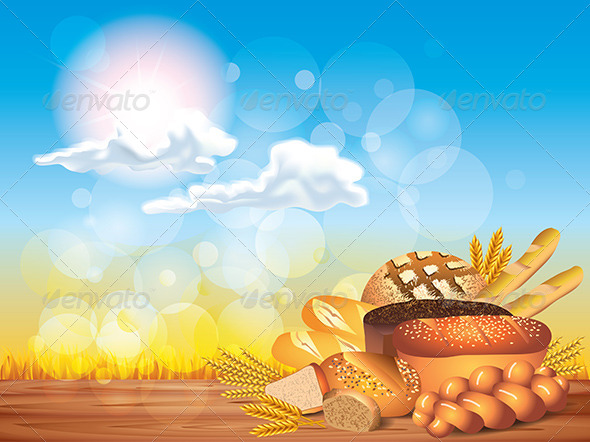 Breads and Wheat on Wooden Table Background
