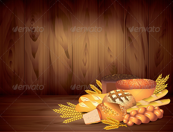 GraphicRiver Breads and Wheat on Dark Wooden Background 5870844