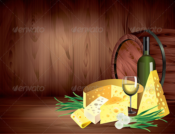 GraphicRiver Cheeses and Wine on Dark Wooden Background 5870851