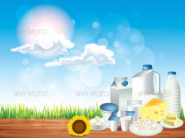 GraphicRiver Dairy Products on Wooden Table Vector Background 5870864