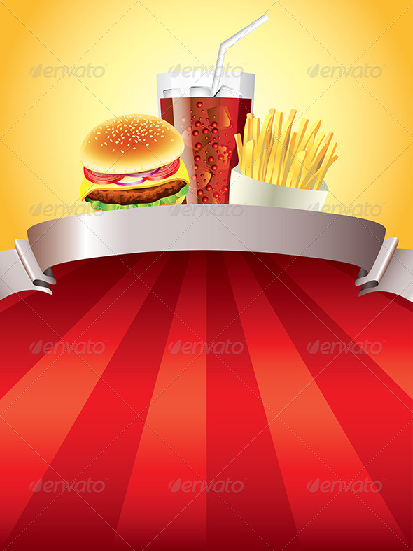 GraphicRiver Hamburger Fries and Cola on Red Background 5870875