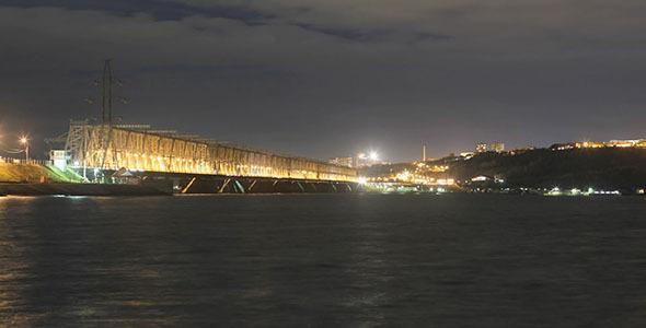Night City Bridge Road Traffic Time Lapse