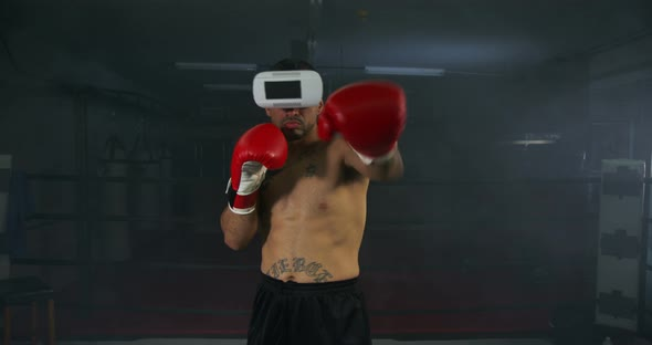 Download Young Man Boxing With Virtual Reality Headset nulled download