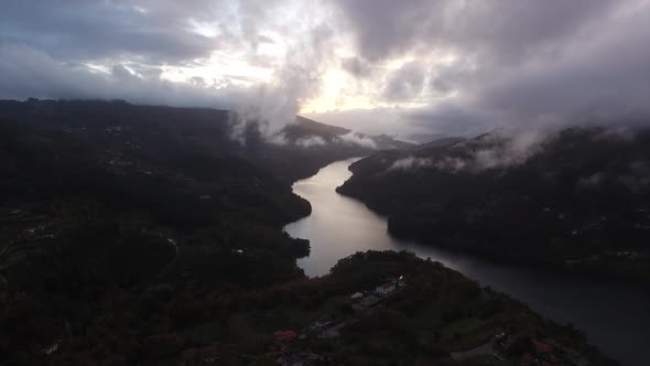 VideoHive Beautiful Mountain and River Sunset with Fog 18983257