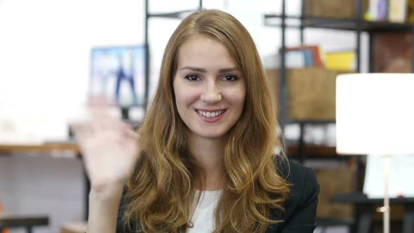 Download Hello by Waving Hand by Girl at Work in Office, Warm Welcome nulled download