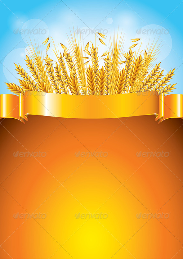 GraphicRiver Wheat on Golden Ribbon Vector Background 5870958