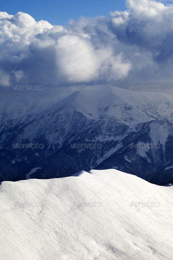 Top view on off-piste slope - Stock Photo - Images
