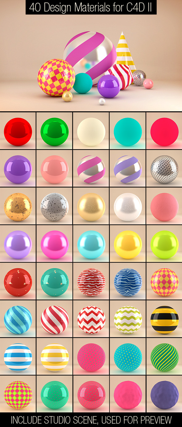 3DOcean 40 Design Materials for C4D II 5862631