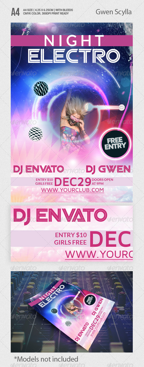 GraphicRiver Night Electro Party Flyer Template 5817140