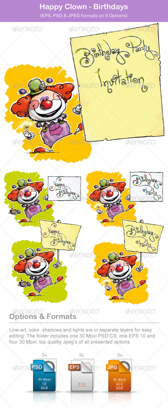 GraphicRiver Happy Clown Birthdays 5871919