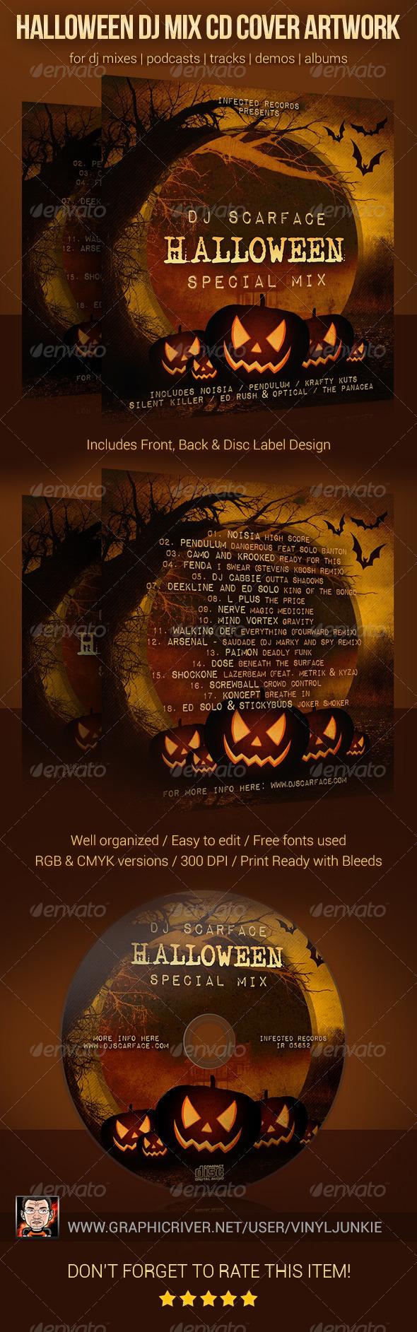 GraphicRiver Halloween DJ Mix CD Cover Artwork Template 5872020