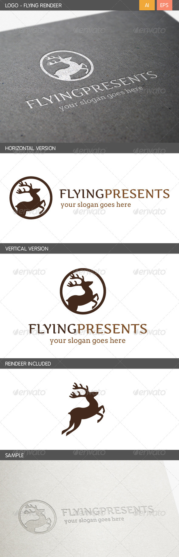 Flying Reindeer Logo - Animals Logo Templates