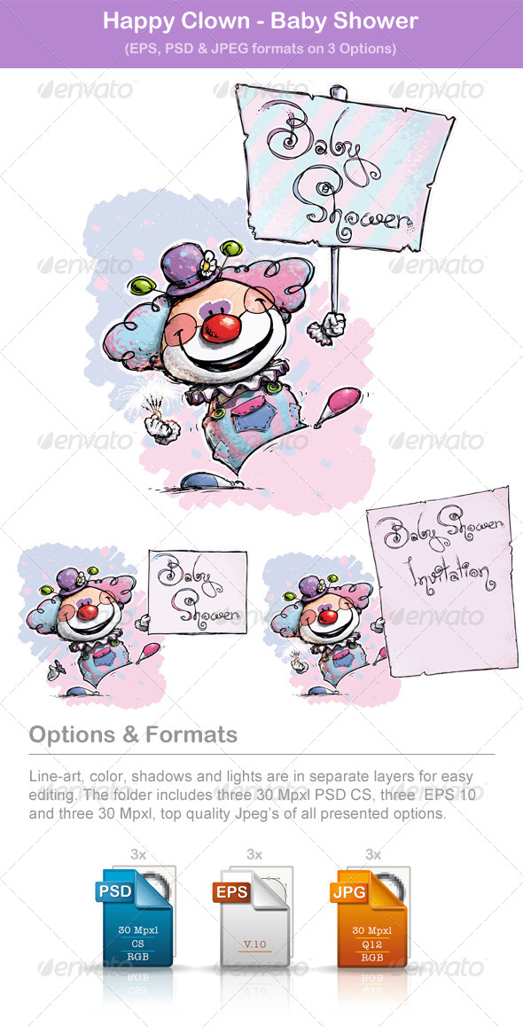 GraphicRiver Happy Clown Baby Shower 5872290