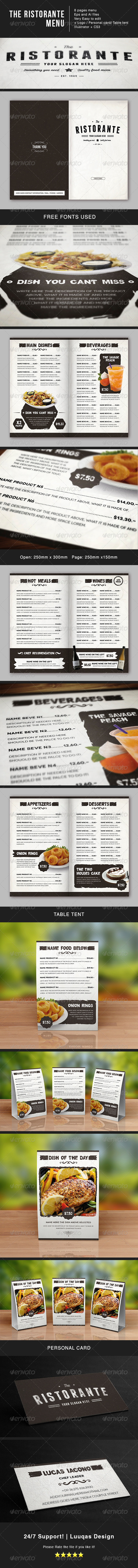 The Ristorante Food Menu - Food Menus Print Templates