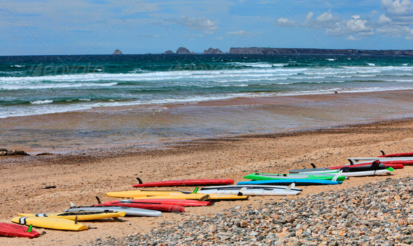 Surf Boards on a Beach in Brittany - Stock Photo - Images