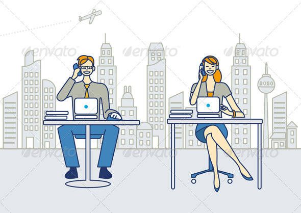 GraphicRiver Man and Woman Working in an Office 5869793