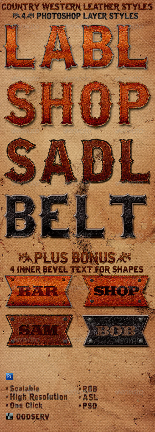Country Western Leather Photoshop Layer Styles - Text Effects Styles