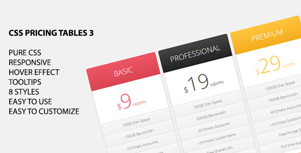 CodeCanyon CSS Pricing Tables 3 5874102
