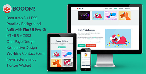 ThemeForest Booom One-Page Flat UI Pro Bootstrap 3 Template 5858084