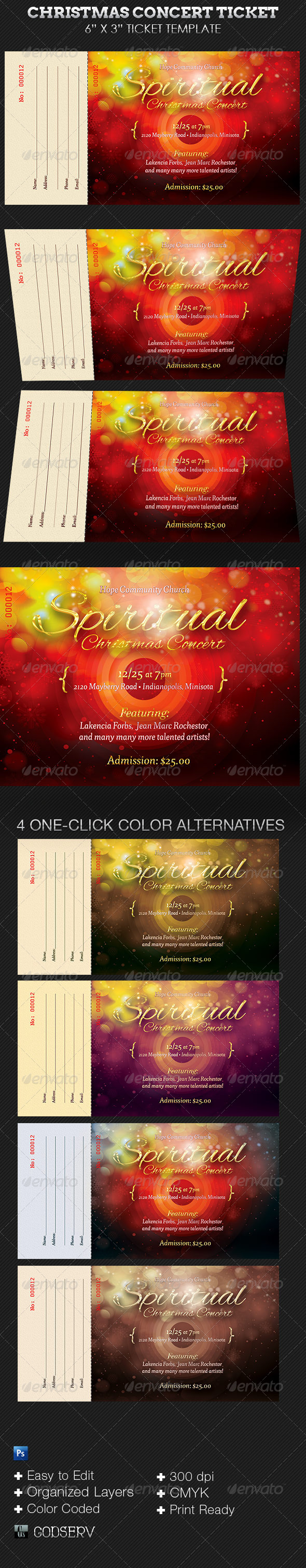 GraphicRiver Spiritual Christmas Concert Ticket Template 5874105