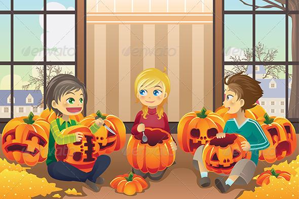 GraphicRiver Kids Carving Pumpkins 5874573
