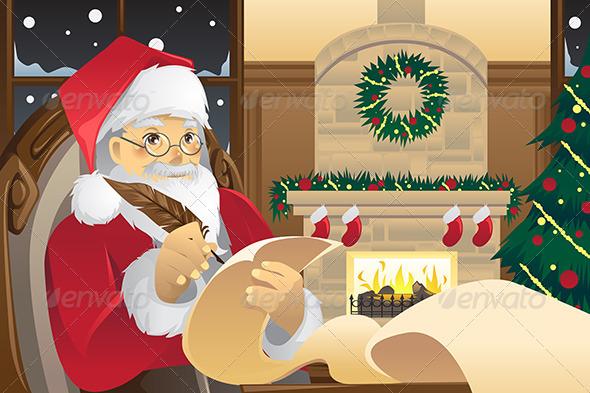 Santa Claus Writing Christmas Presents List