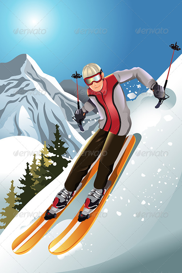 GraphicRiver Skier in the Mountain 5874968