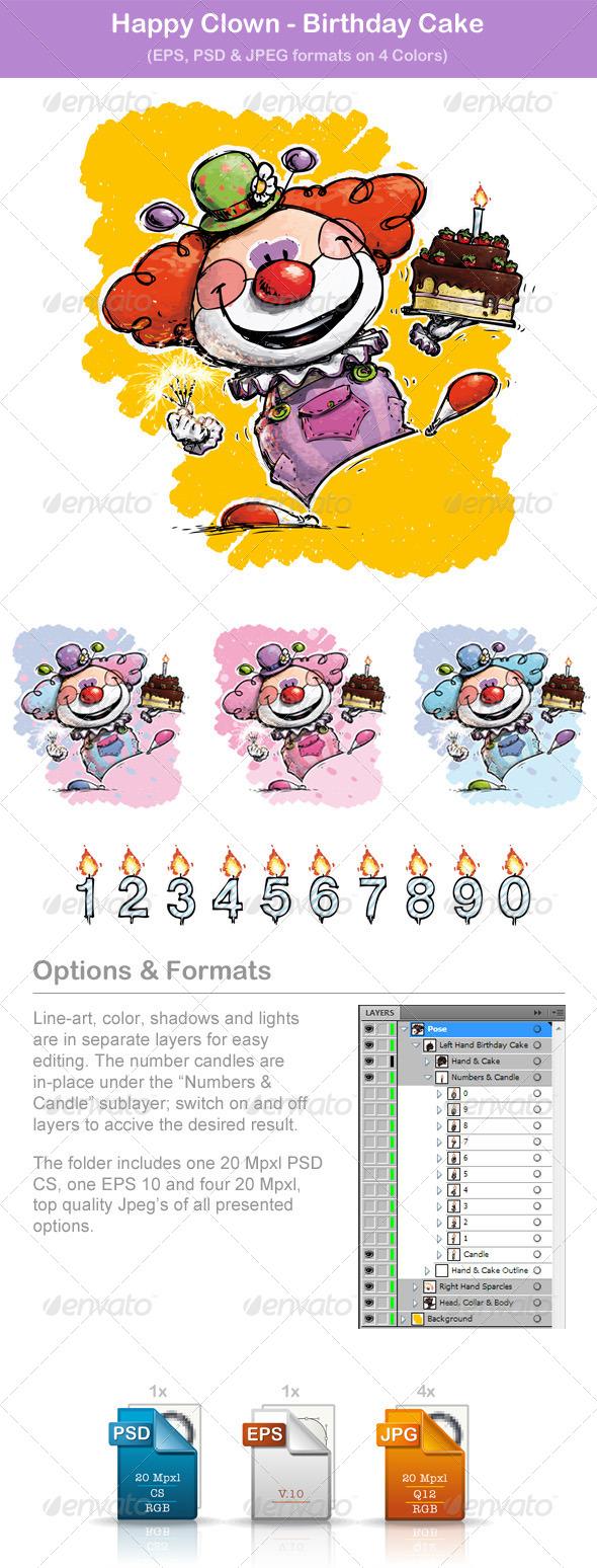 GraphicRiver Happy Clown Birthday Cake 5872023