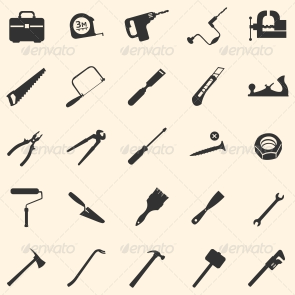 GraphicRiver Vector Set of 25 Tool Icons 5875098