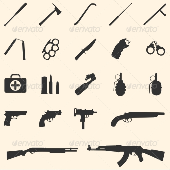 GraphicRiver vector weapon icons 5875142