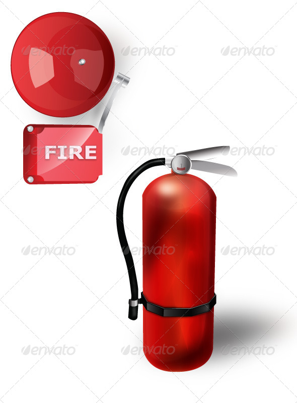 GraphicRiver Old Extinguisher with Red Fire Alarm 5869863