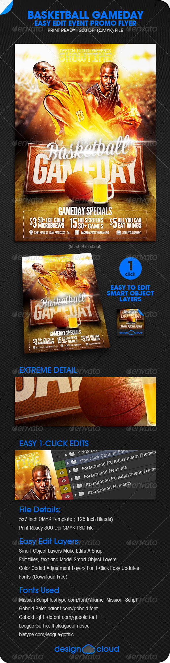 GraphicRiver Basketball Game Day Event Promo Flyer 5875251