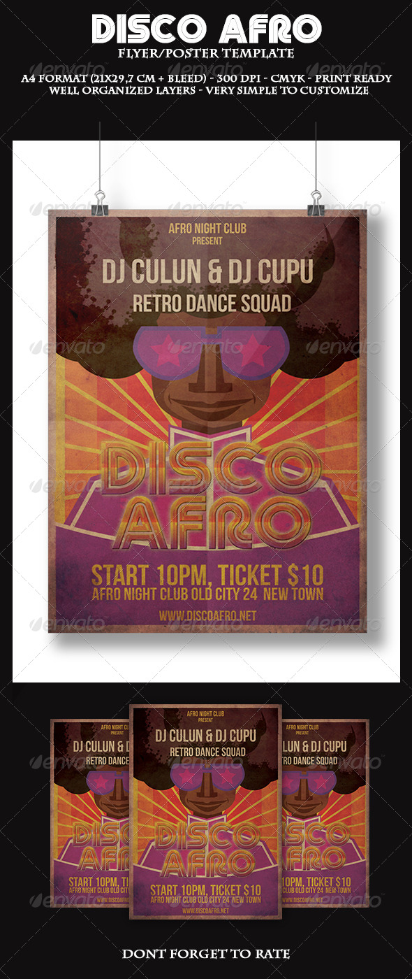 GraphicRiver Disco Afro Flyer Template 5875659