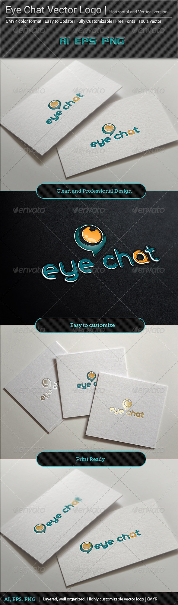 Eye Chat Vector Logo  - Vector Abstract