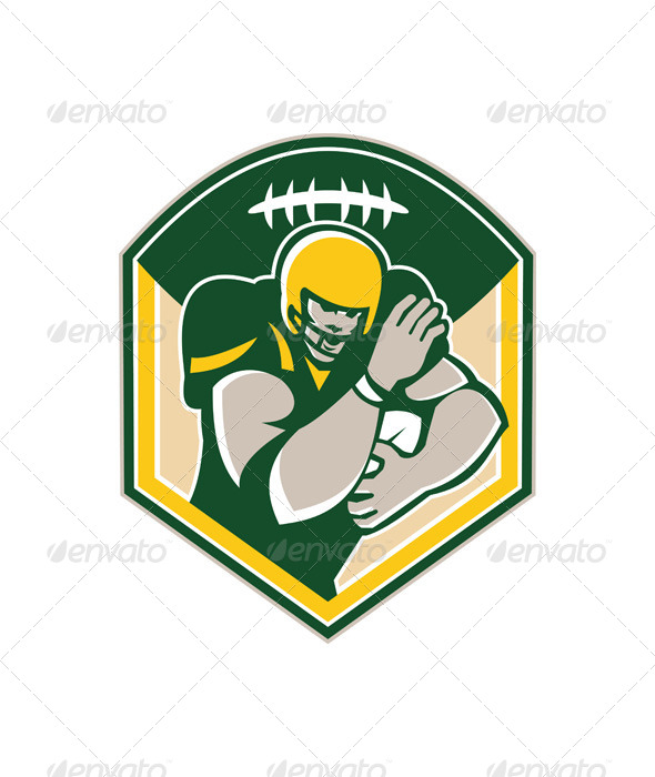 GraphicRiver American Gridiron Running Back Fending Crest 5875845
