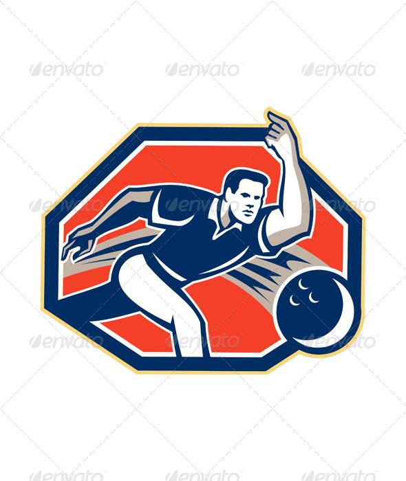 GraphicRiver Bowler Throw Bowling Ball Retro 5875855