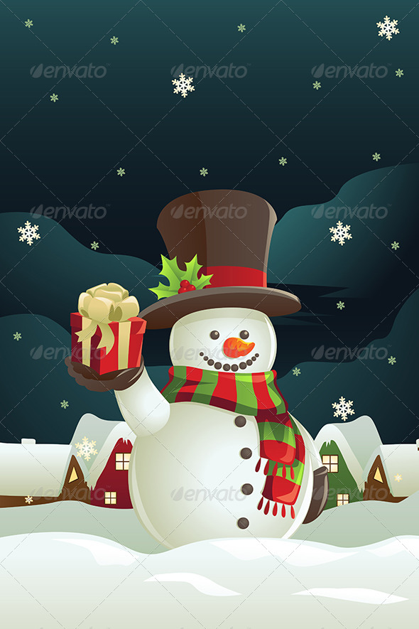 GraphicRiver Snowman holding Christmas Present 5875905