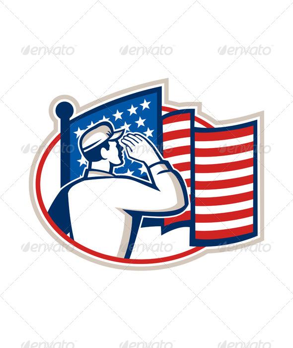 GraphicRiver American Soldier Salute Flag Retro 5875907