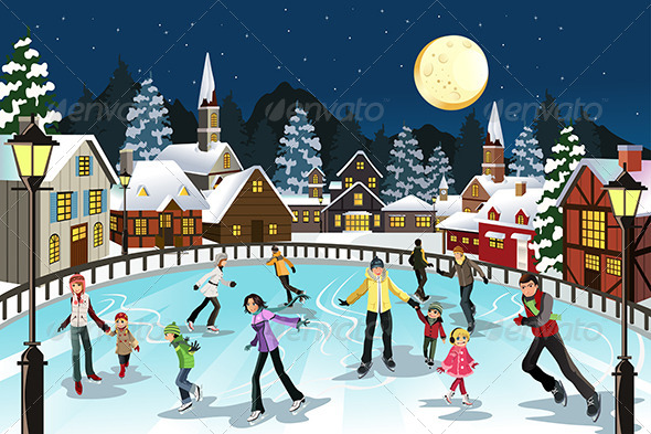 GraphicRiver People Ice Skating 5875966