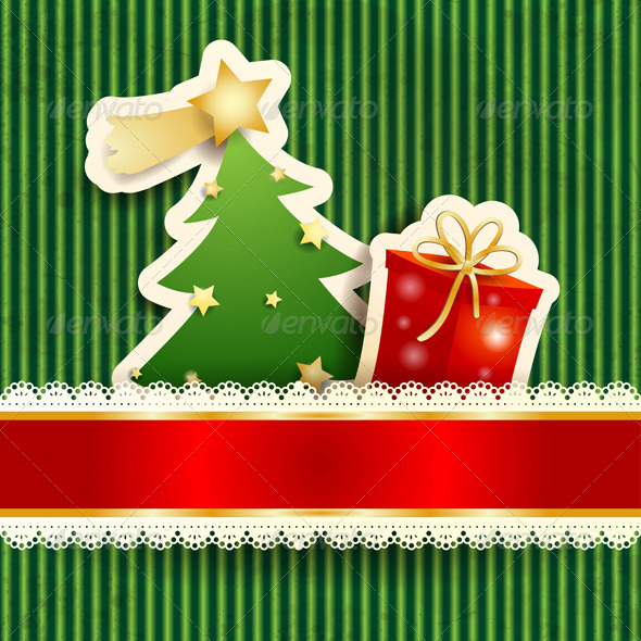 GraphicRiver Christmas Background with Paper Tree 5876043