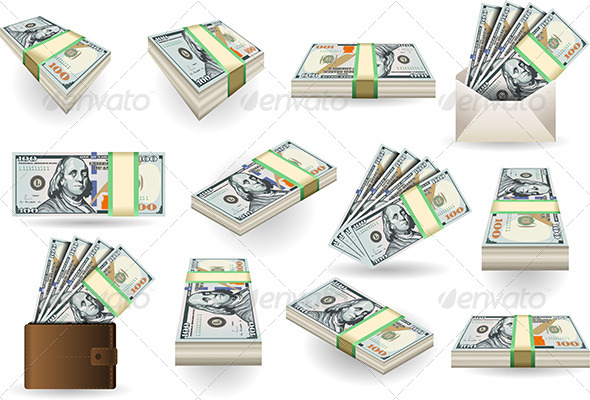 GraphicRiver Set of One Hundred Dollars Banknotes 5876183